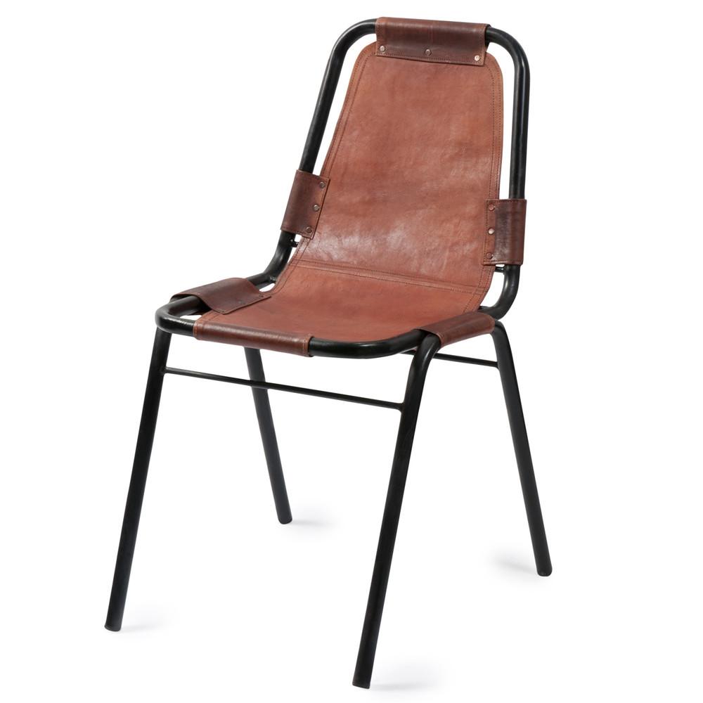 Sedia marrone stile industriale in cuoio e metallo wagram for Sedie in cuoio