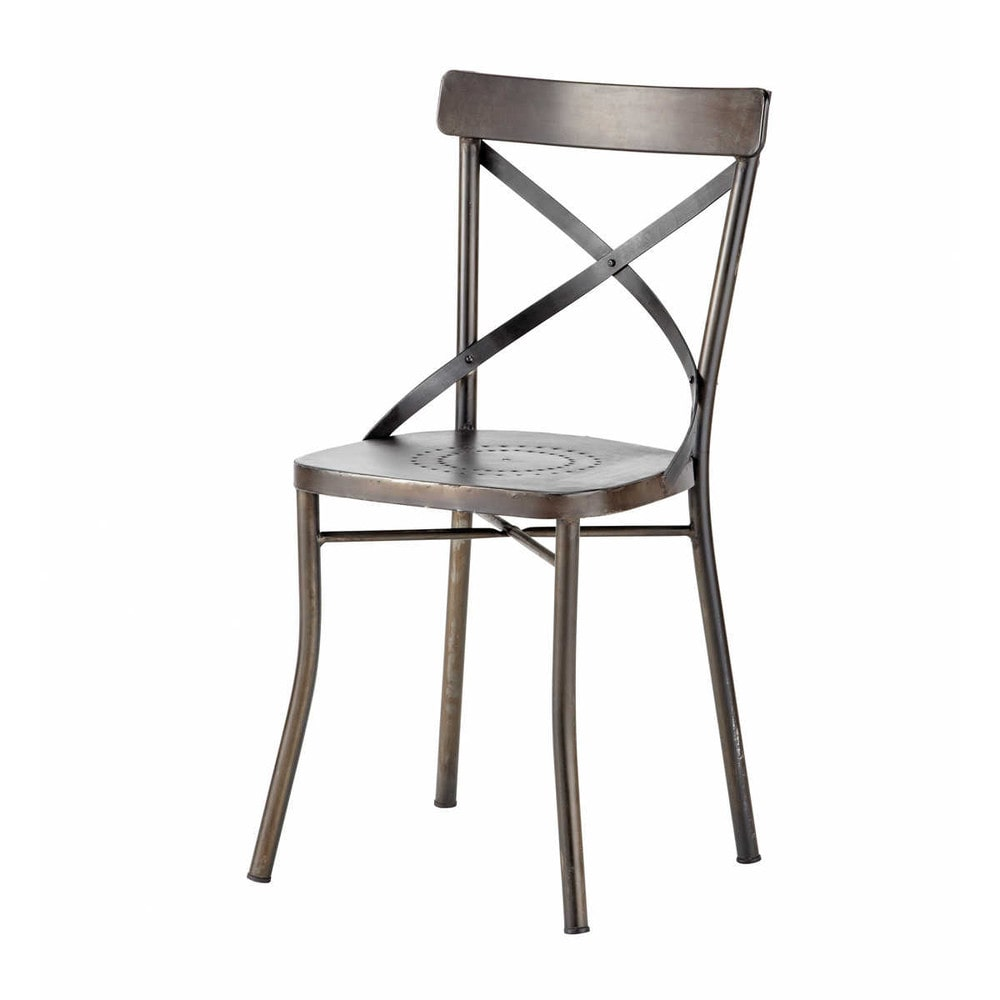 mobili › Sedie da giardino › Sedia nera da giardino in metallo ...