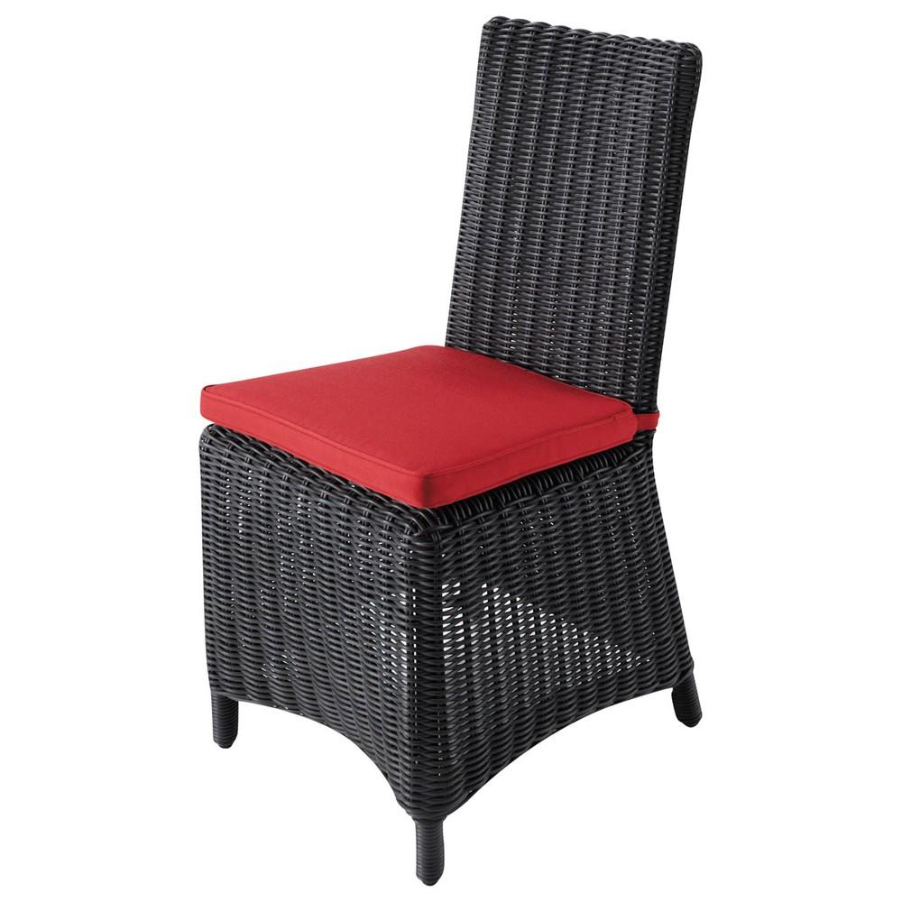 Sedia rossa da giardino cuscino in resina intrecciata e for Sedia rossa