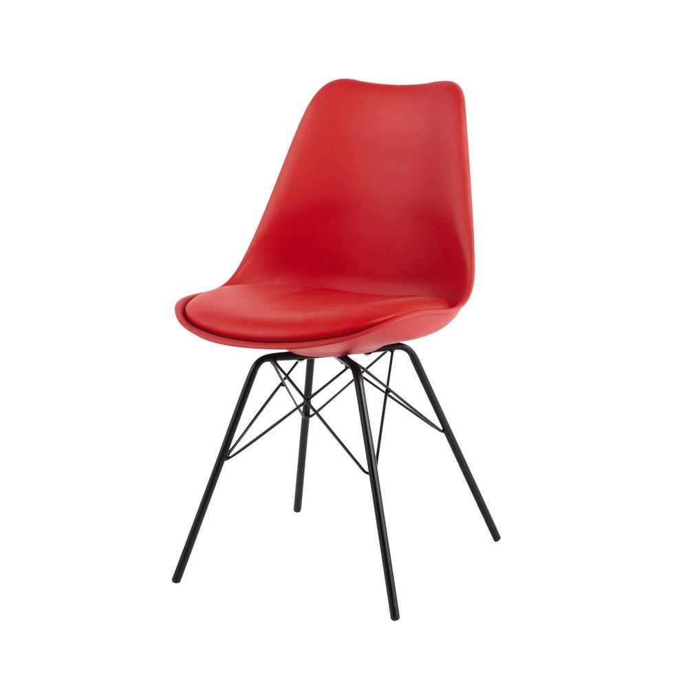 Sedia rossa in polipropilene e metallo coventry maisons for Sedia polipropilene