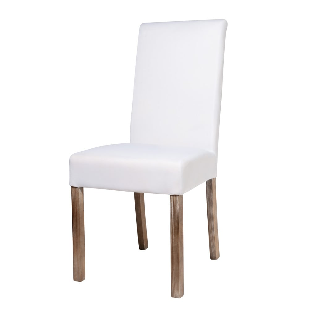Sedia sfoderabile bianca in tessuto e legno Margaux | Maisons du Monde
