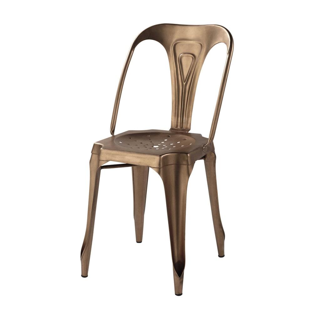 Sedia stile industriale in metallo ramato Multipl's ...