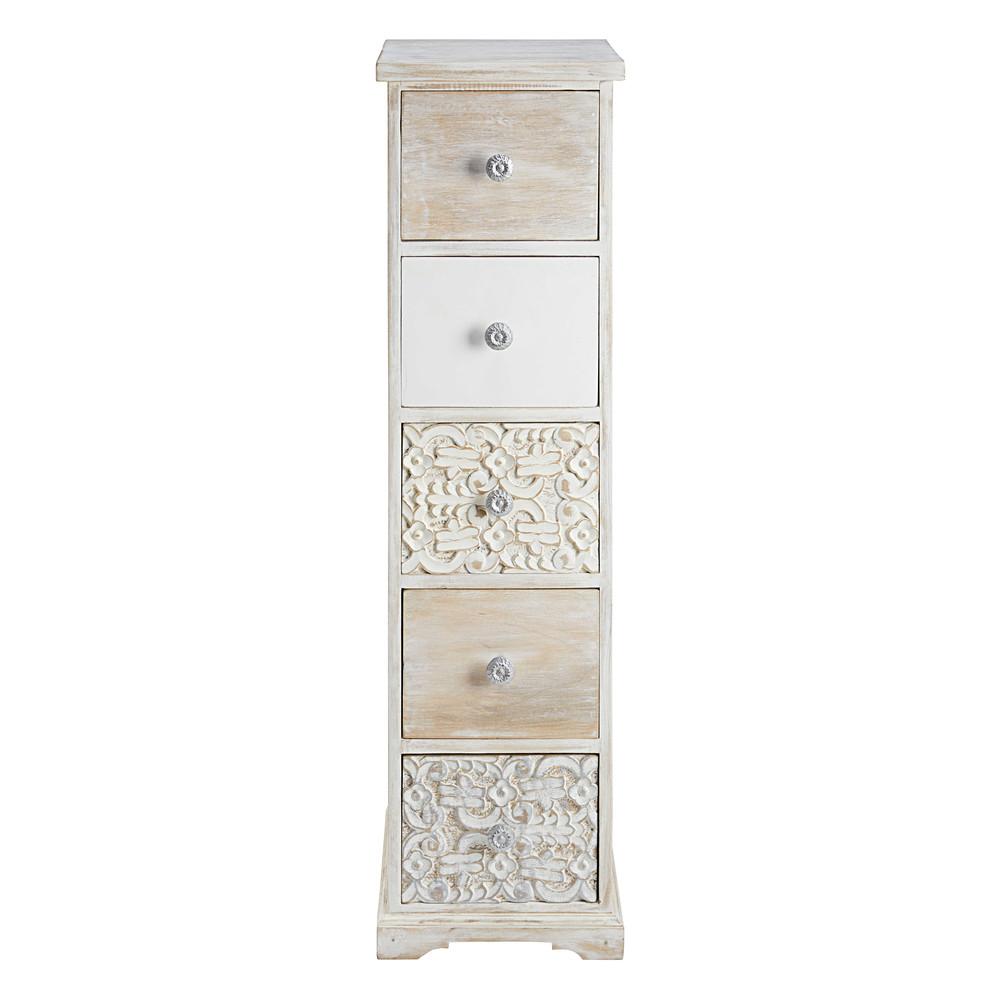 semainier 5 tiroirs en manguier sculpt et blanchi namaste. Black Bedroom Furniture Sets. Home Design Ideas