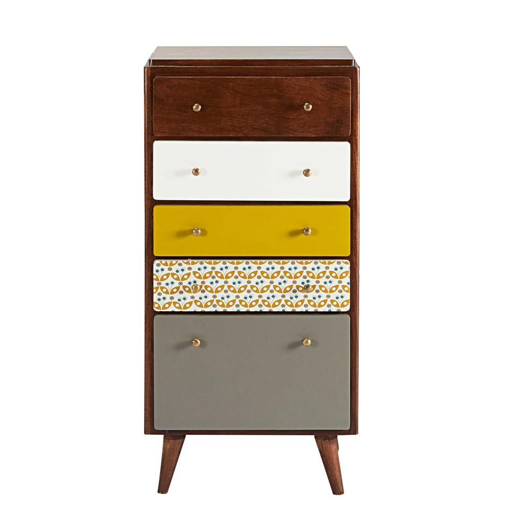Semainier vintage 5 tiroirs en manguier multicolore for L art du meuble barentin