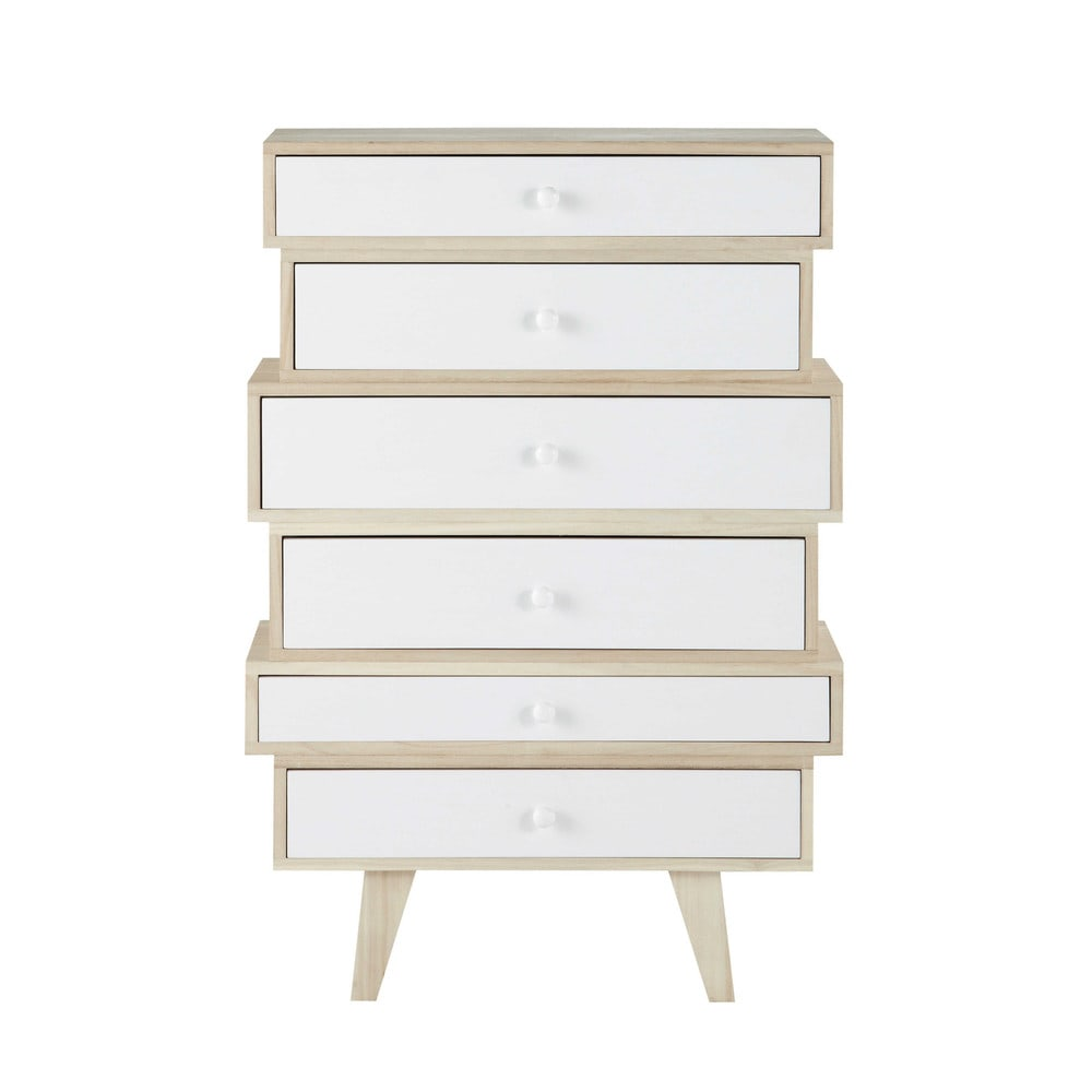 semainier vintage en bois de paulownia blanc l 65 cm spring maisons du monde. Black Bedroom Furniture Sets. Home Design Ideas