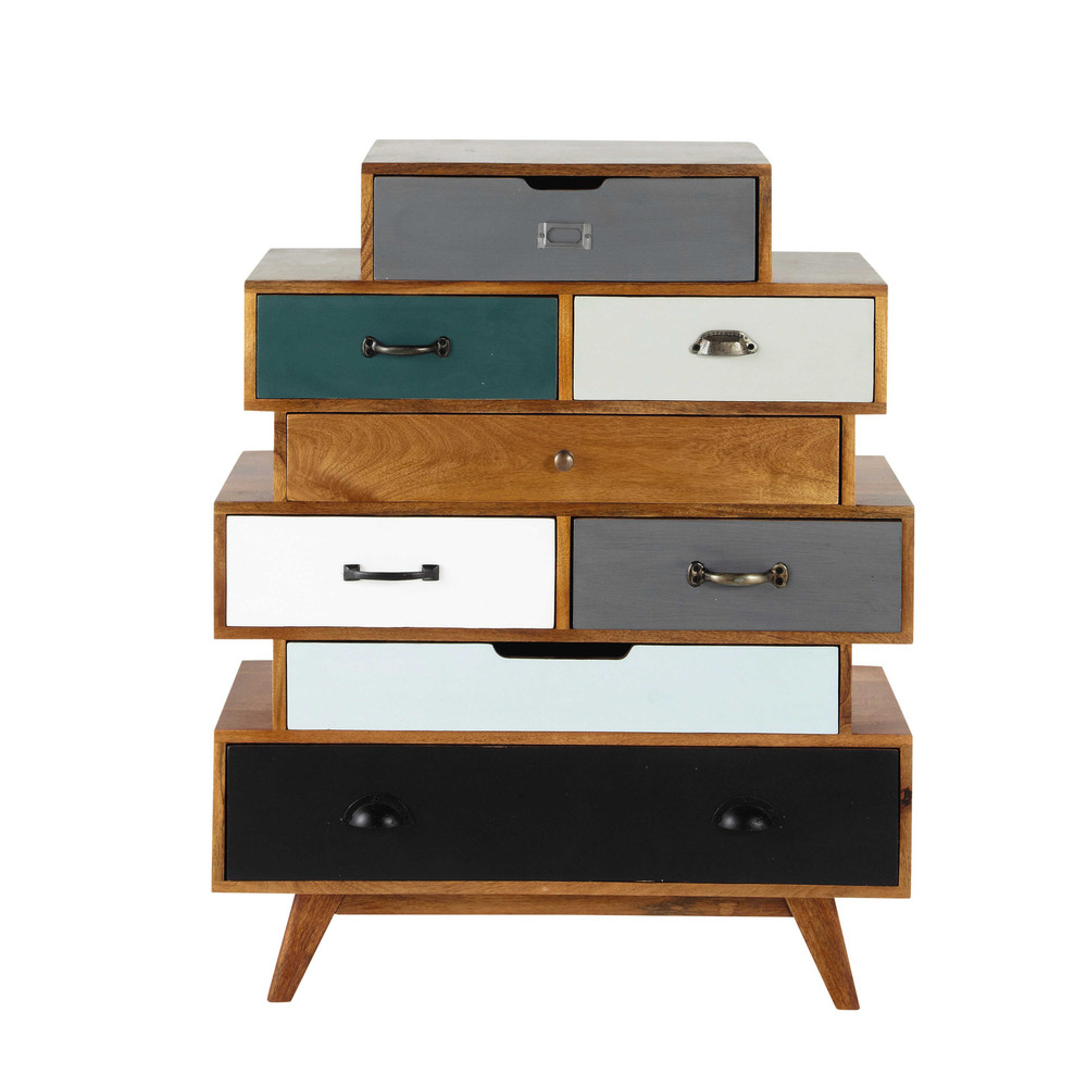 semainier vintage en manguier massif multicolore l 86 cm picadilly maisons du monde. Black Bedroom Furniture Sets. Home Design Ideas