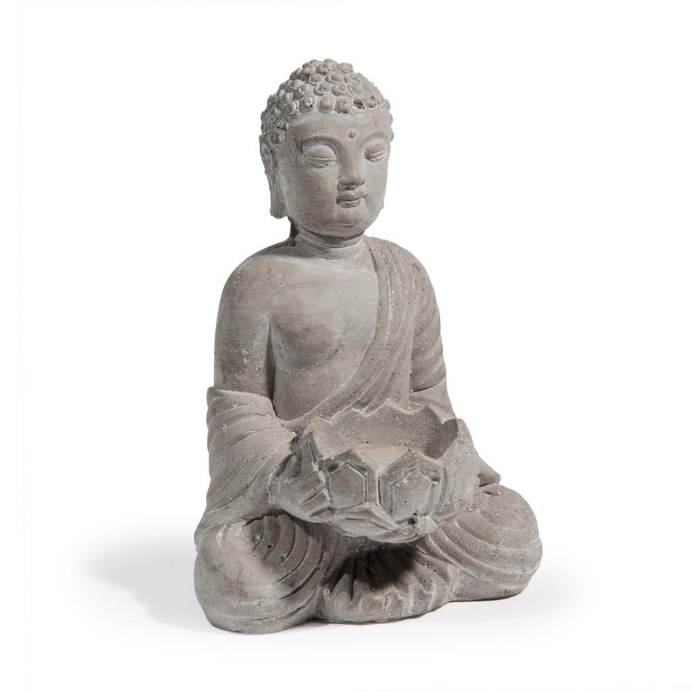 serenite cement buddha candle holder in grey h 19cm maisons du monde. Black Bedroom Furniture Sets. Home Design Ideas
