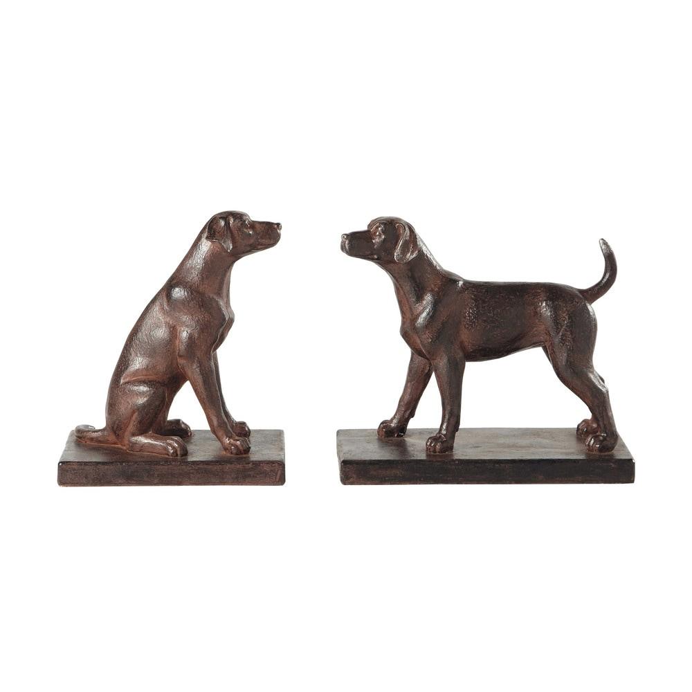 Serre livres chiens en r sine effet rouille h 16 cm for Decoration chien resine