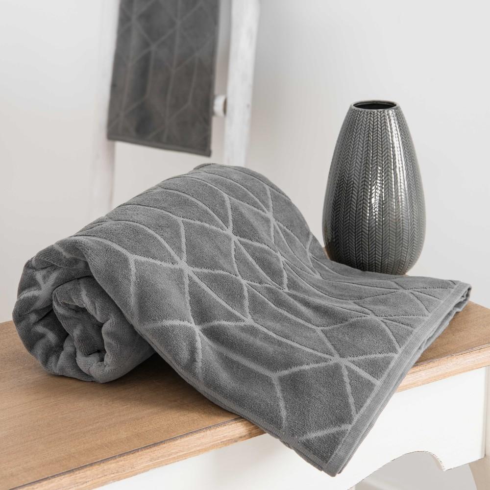 serviette de bain en coton anthracite motifs 50x100cm op art maisons du monde. Black Bedroom Furniture Sets. Home Design Ideas