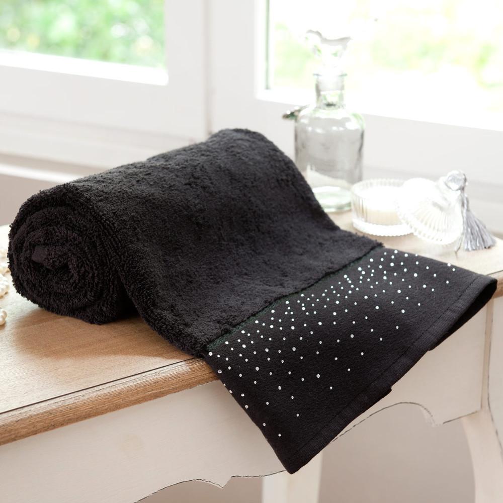 serviette de bain noire diamente 70x140 maisons du monde. Black Bedroom Furniture Sets. Home Design Ideas