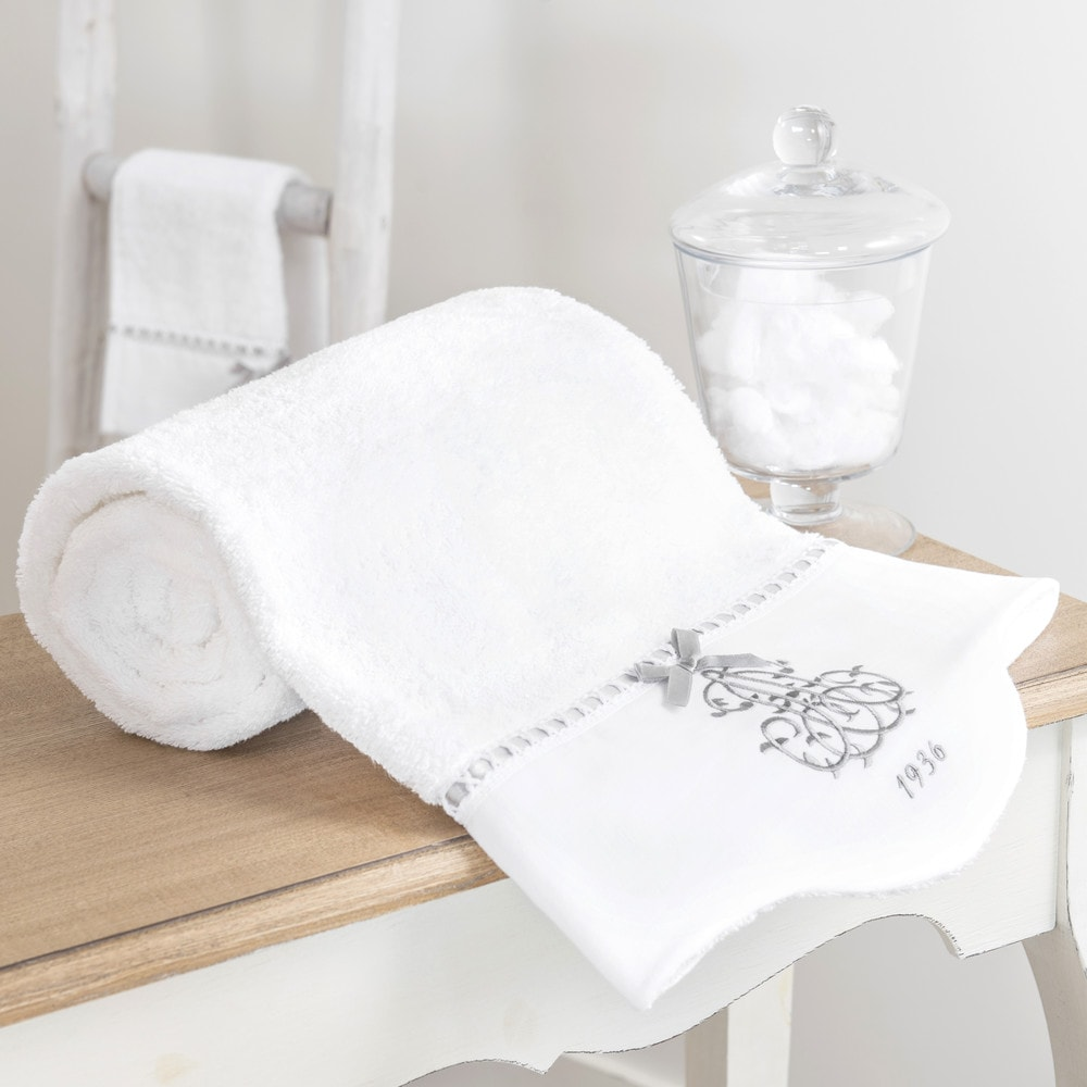 serviette de toilette en coton blanc 30x50 si cle. Black Bedroom Furniture Sets. Home Design Ideas