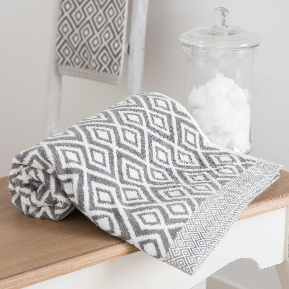 serviette de toilette en coton blanc motifs gris 30x50 graphic wild maisons du monde. Black Bedroom Furniture Sets. Home Design Ideas