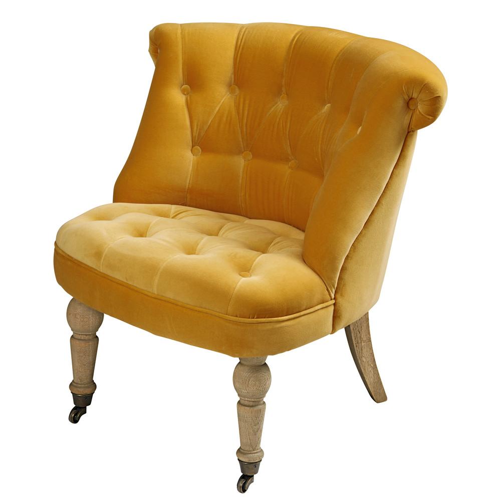 sessel aus ockerfarbenem samt constantin maisons du monde. Black Bedroom Furniture Sets. Home Design Ideas