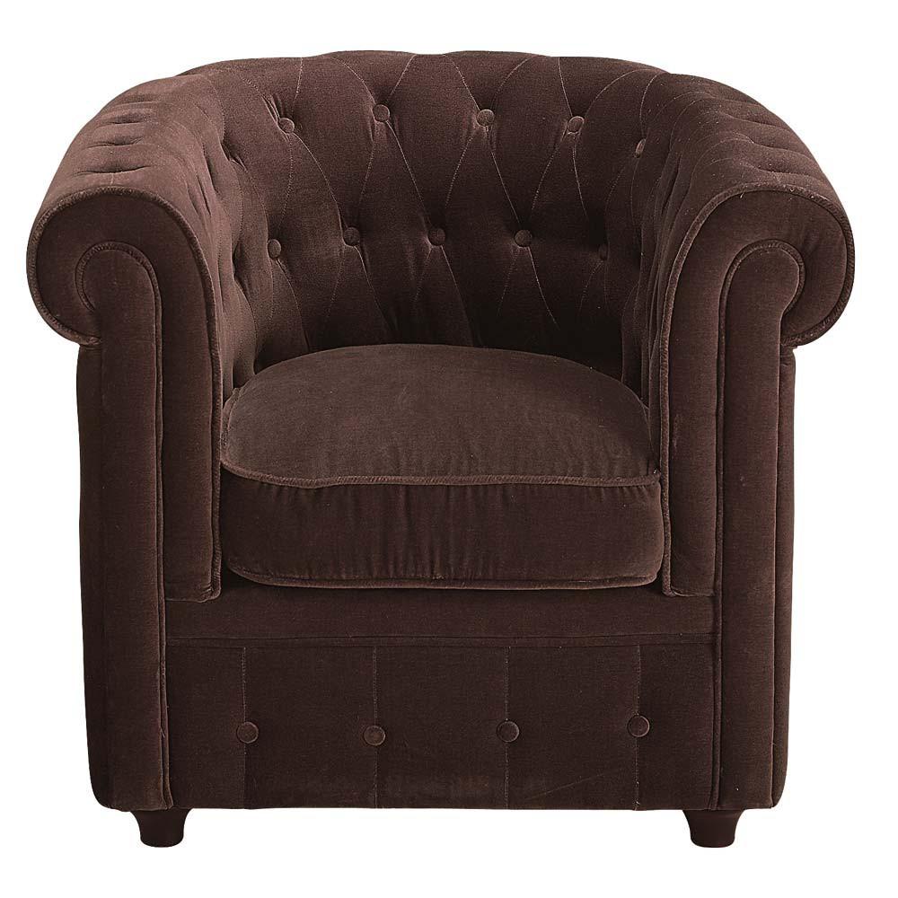 sessel velours schoko chesterfield chesterfield maisons du monde. Black Bedroom Furniture Sets. Home Design Ideas