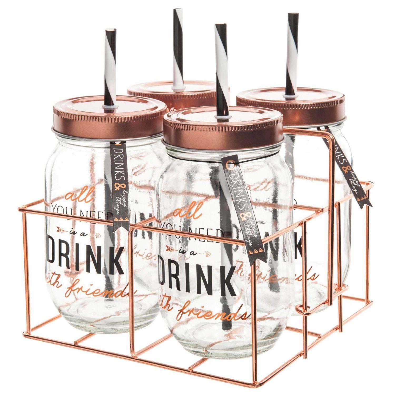 Set 4 Barattoli Con Cannuccia Supporto In Metallo Drink Maisons