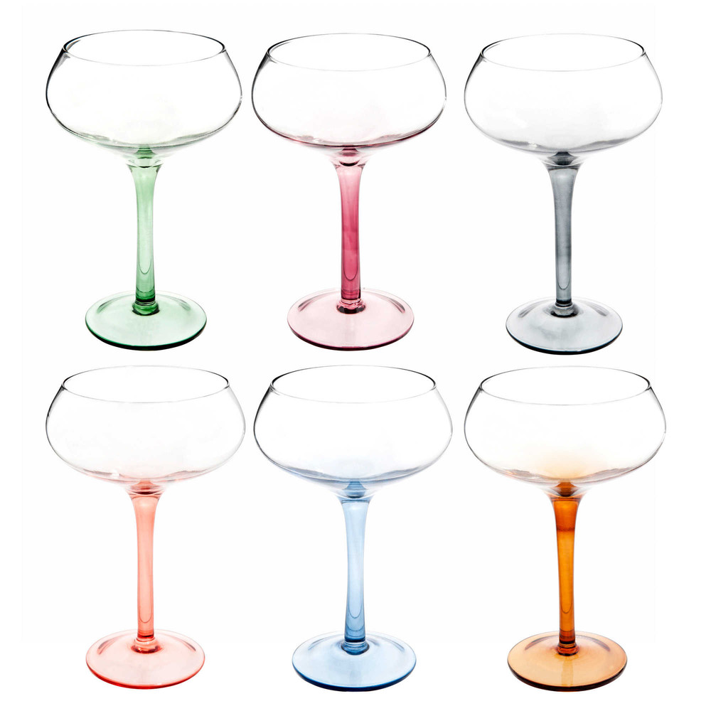 set 6 bicchieri di champagne in vetro disco maisons du monde. Black Bedroom Furniture Sets. Home Design Ideas
