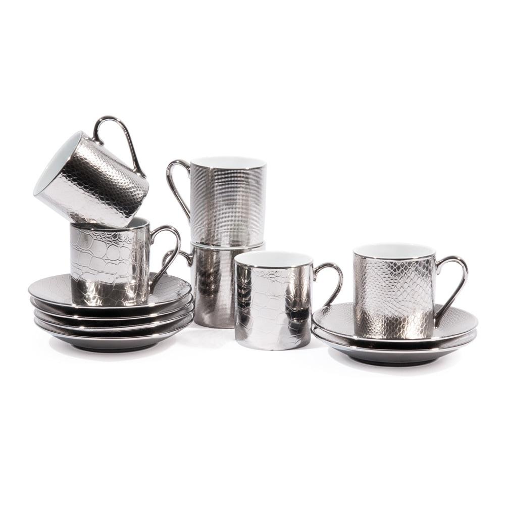 Set 6 tazze da caffè con piattini argentati in porcellana