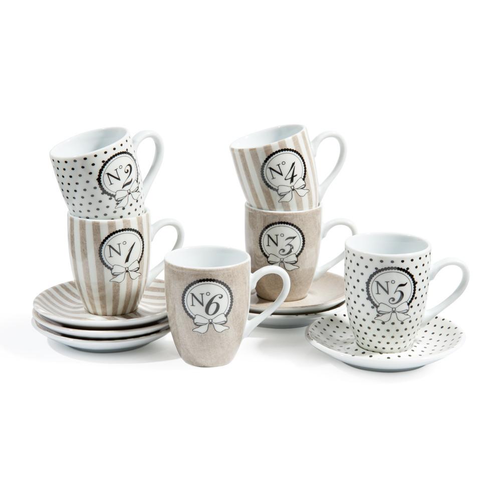Set 6 tazze da caffè con piattini beige in porcellana MODE