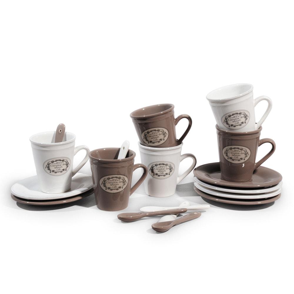 Set 6 tazze da caffè con piattini in maiolica + cucchiaini