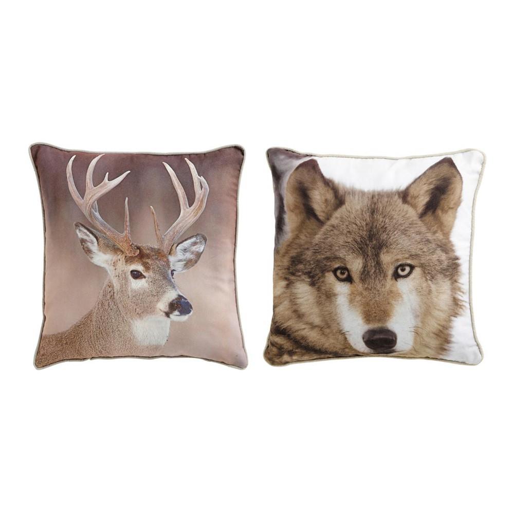 set aus 2 kissen wolf und hirsch natur 45x45 cm maisons du monde. Black Bedroom Furniture Sets. Home Design Ideas
