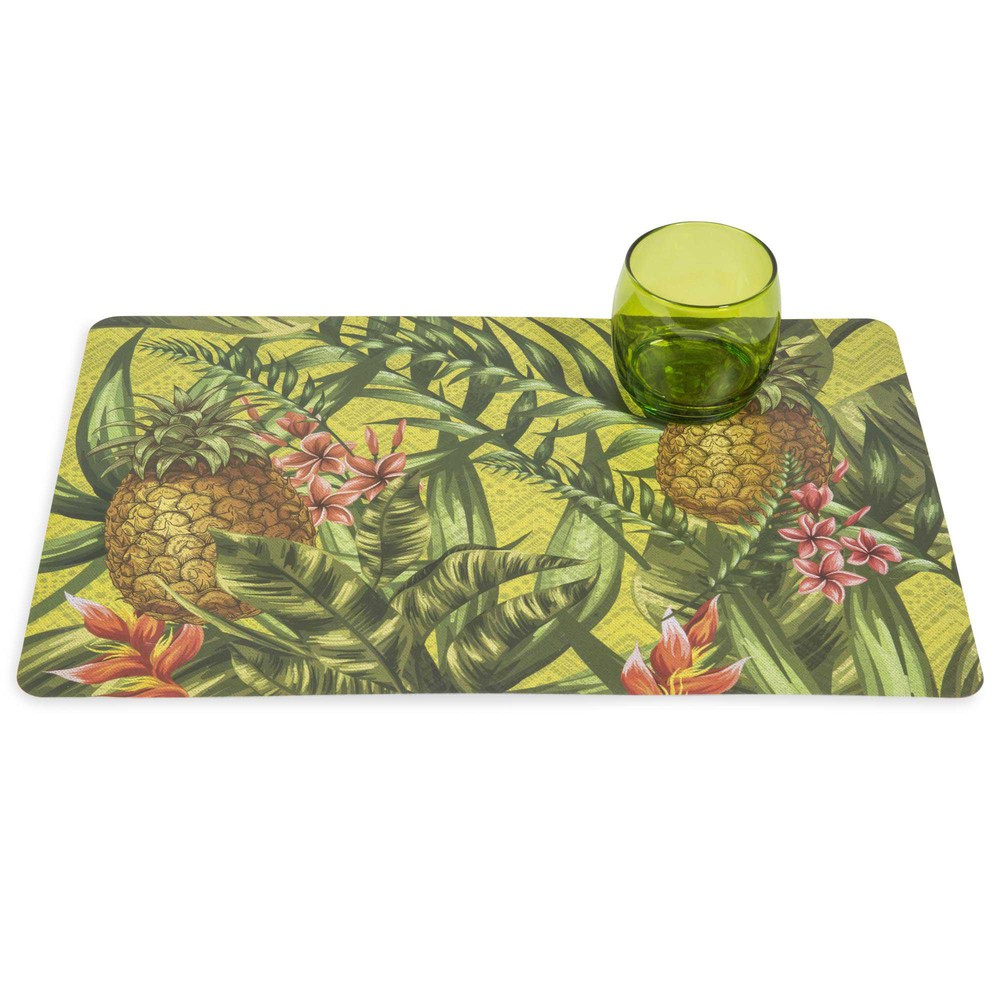 Set de table en plastique vert 29 x 42 cm tropic jungle for Set de table plastifie