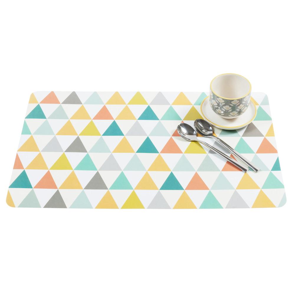 set de table motif triangles multicolores. Black Bedroom Furniture Sets. Home Design Ideas