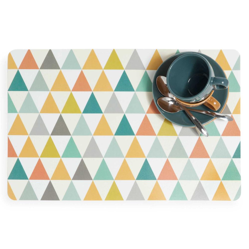 set de table motifs triangle en plastique multicolore vintage maisons du monde. Black Bedroom Furniture Sets. Home Design Ideas
