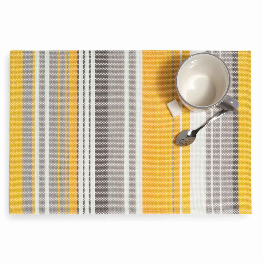 Set de table ray jaune gris 30 x 45 cm porto maisons du for Set de table jaune