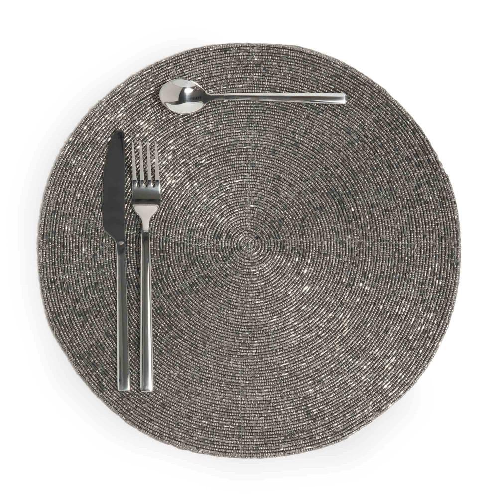 Set de table rond argent d 33 cm perle maisons du monde Set de table photo