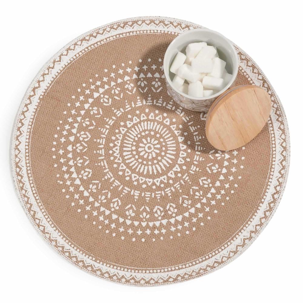 Set de table rond en jute imprim blanc solanna maisons for Set de table rond blanc