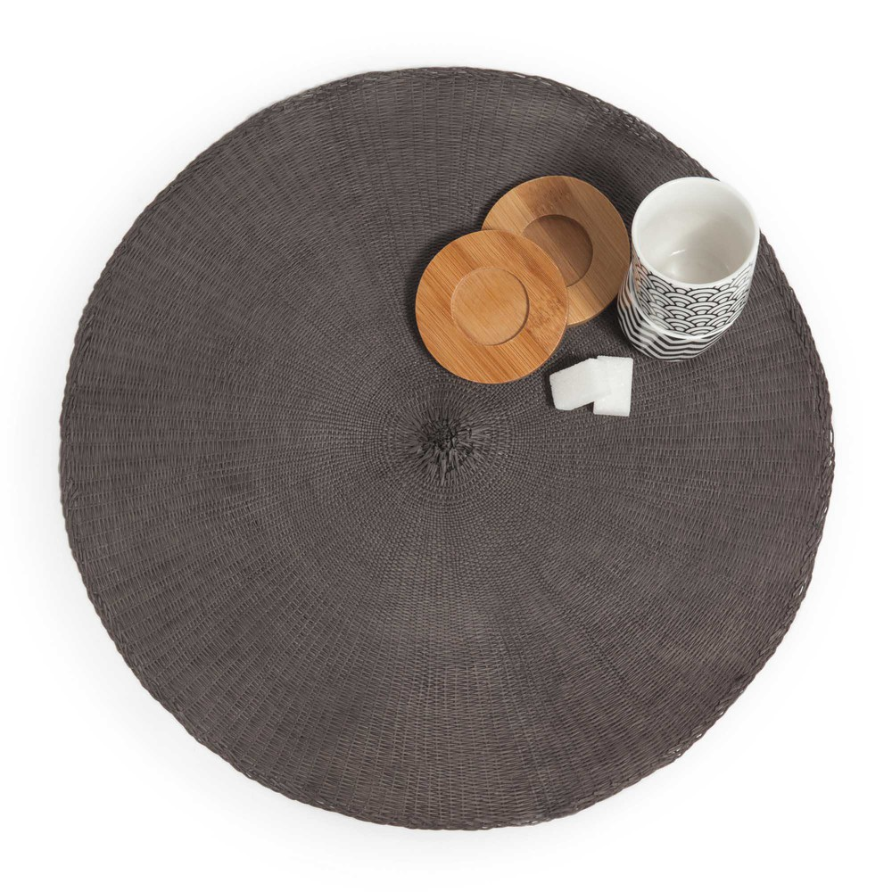set de table rond gris malo maisons du monde. Black Bedroom Furniture Sets. Home Design Ideas