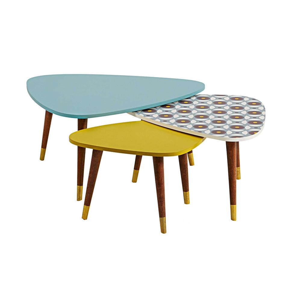 set of 3 tricoloured vintage nest of tables lucette maisons du monde. Black Bedroom Furniture Sets. Home Design Ideas