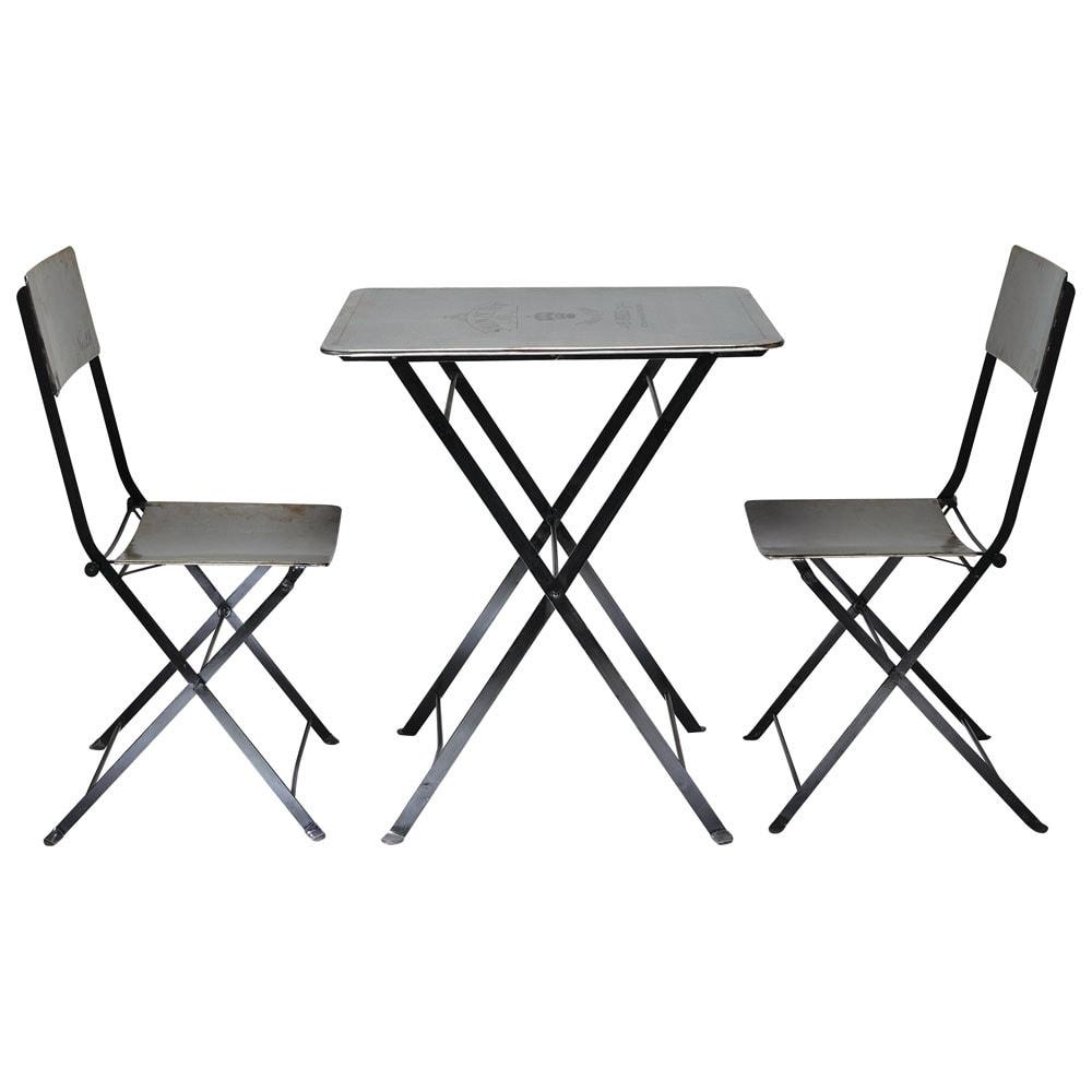 set table 2 chaises haussmann maisons du monde. Black Bedroom Furniture Sets. Home Design Ideas