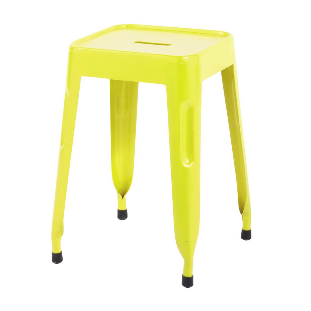 ... › Sgabello giallo fluorescente stile industriale in metallo JIM