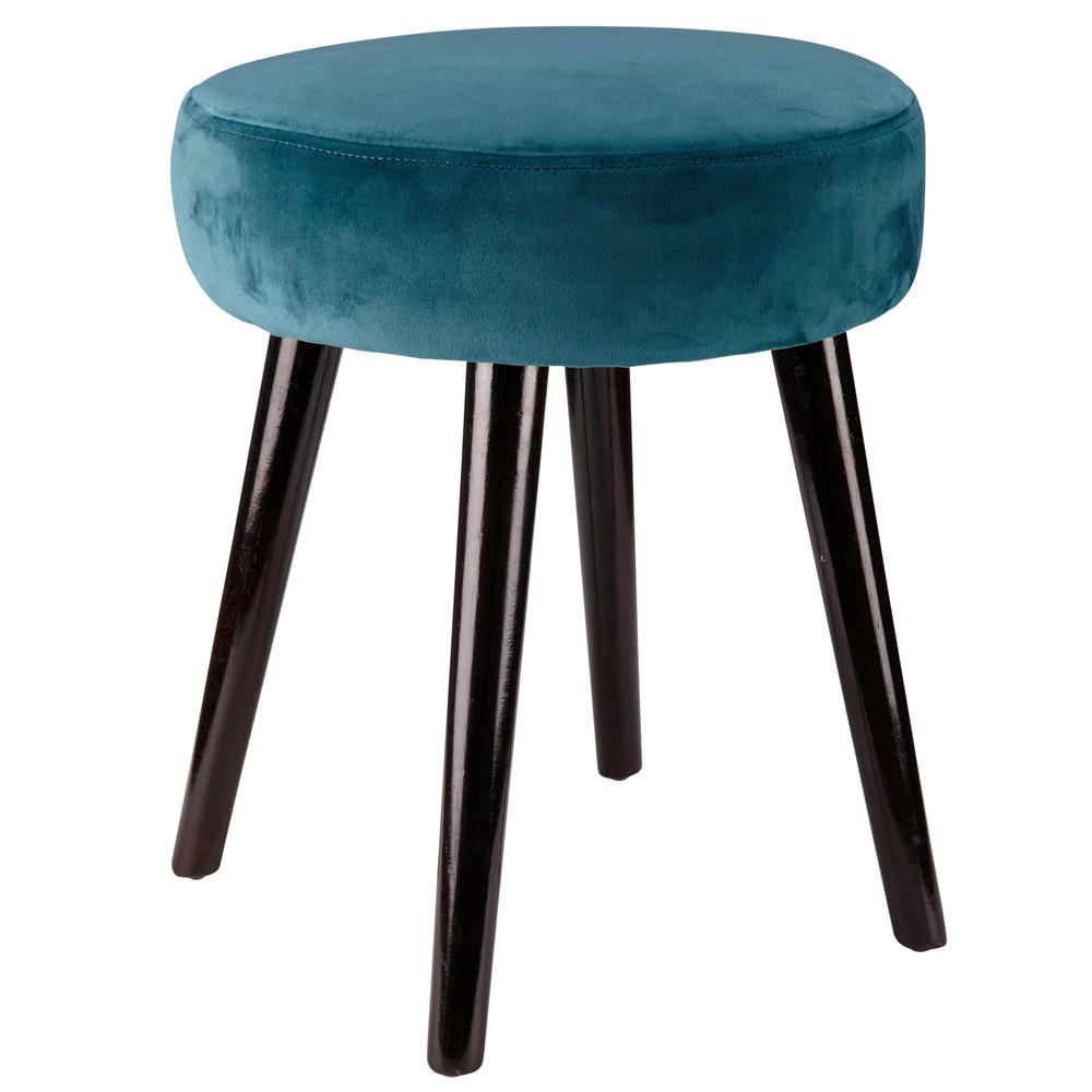 sgabello in velluto blu anatra leonie maisons du monde. Black Bedroom Furniture Sets. Home Design Ideas