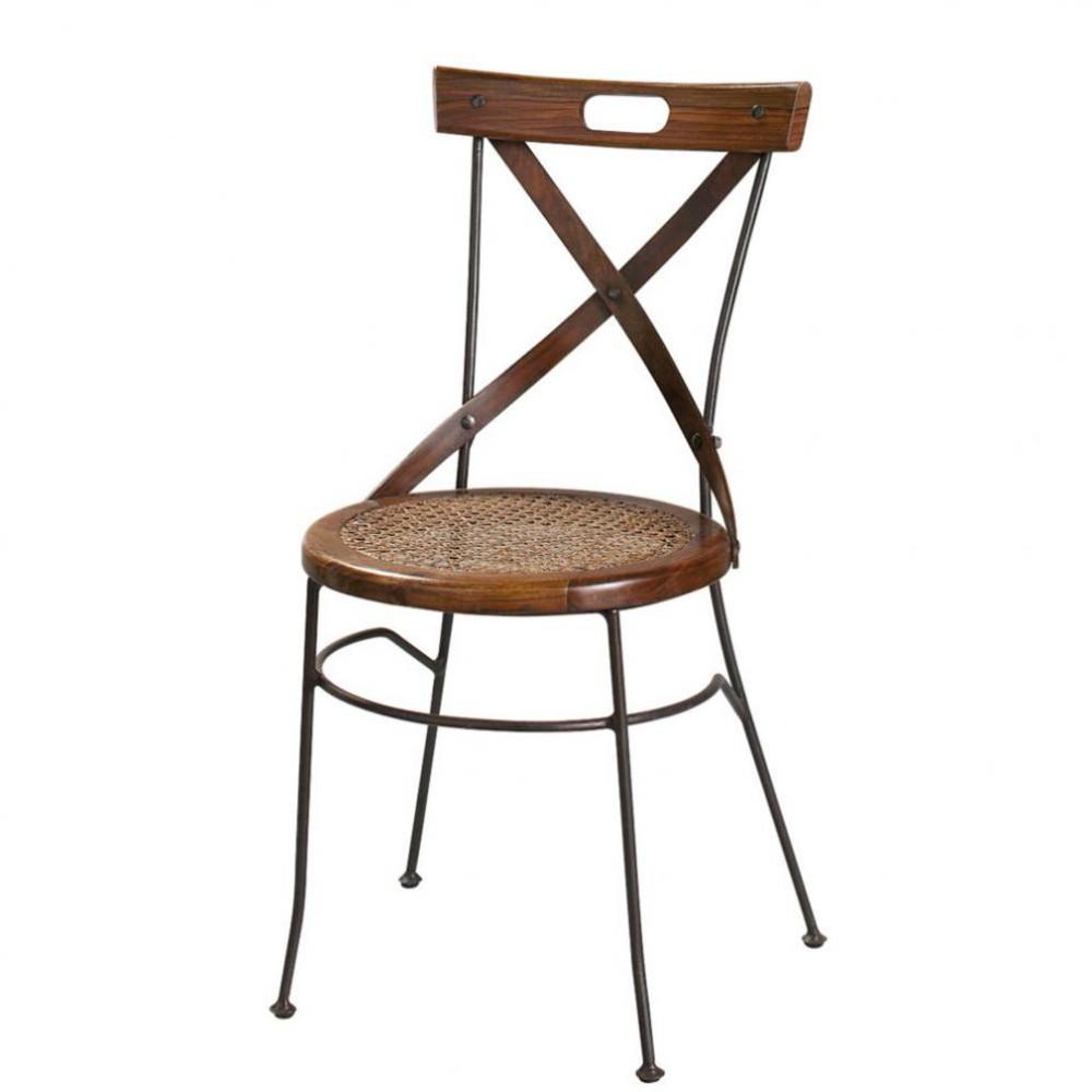 Sheesham houten en smeedijzeren stoel met gekruiste vorm lub ron maisons du monde - Smeedijzeren stoel en houten ...