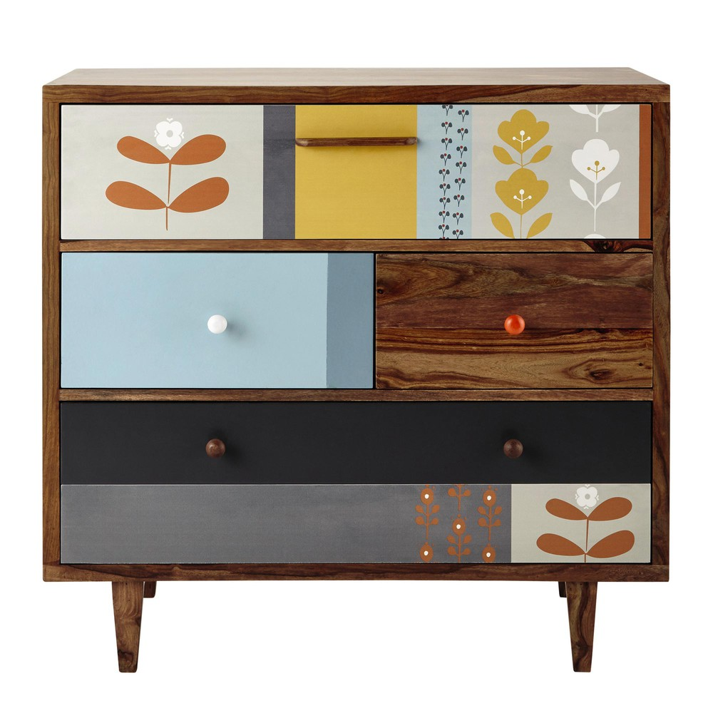 sheesham wood vintage chest of drawers w 94cm wallpaper. Black Bedroom Furniture Sets. Home Design Ideas