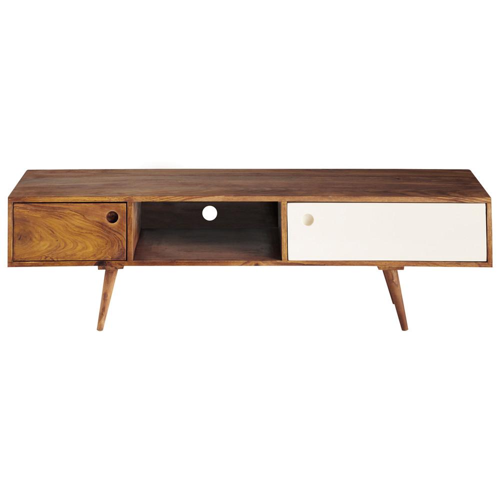 sheesham wood vintage tv unit w 140cm andersen maisons du monde. Black Bedroom Furniture Sets. Home Design Ideas
