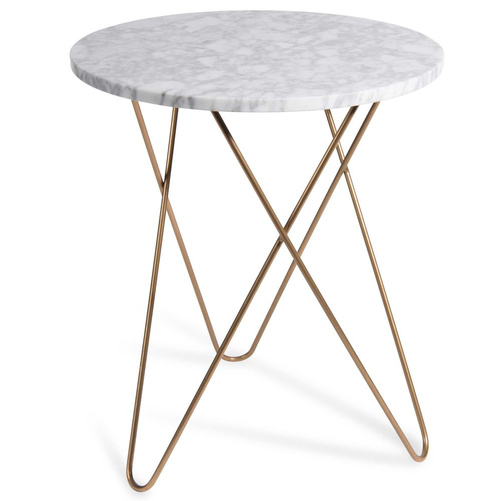 SIDERNO Marble Side Table D 40 Cm Maisons Du Monde