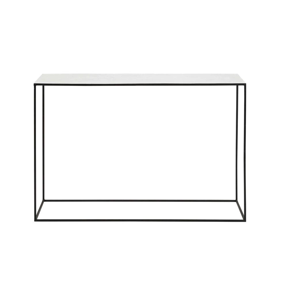 Sidetable van wit marmer en zwart metaal marble maisons for Console maisons du monde