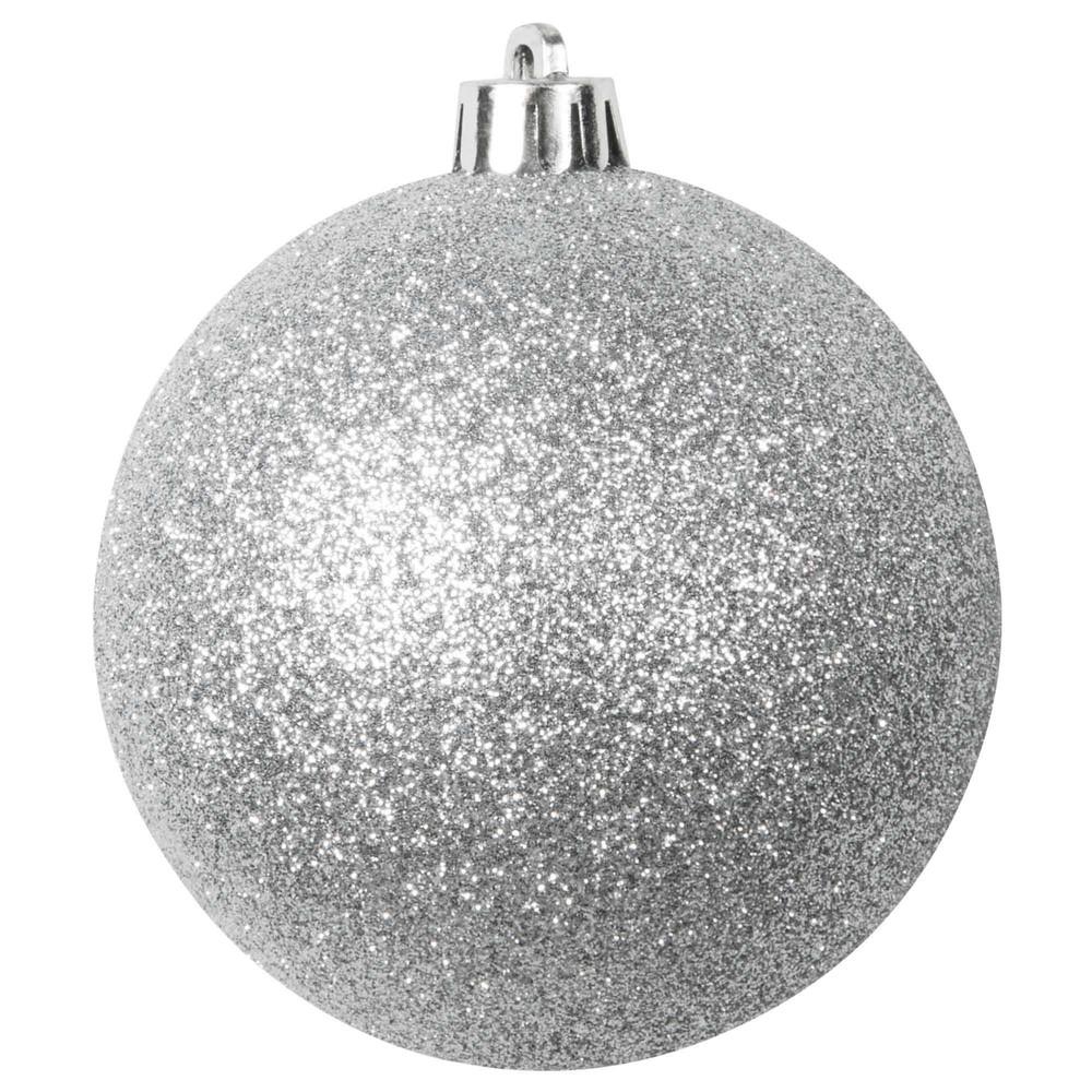silberfarbene weihnachtskugel mit pailletten aus plastik 8. Black Bedroom Furniture Sets. Home Design Ideas