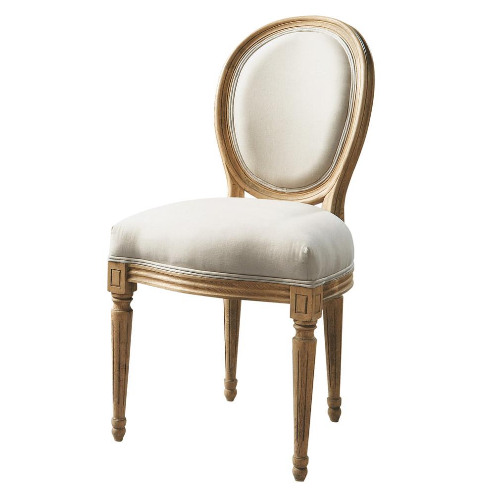 Silla con respaldo medall n de algod n y casta o marfil for Maison du monde sillas