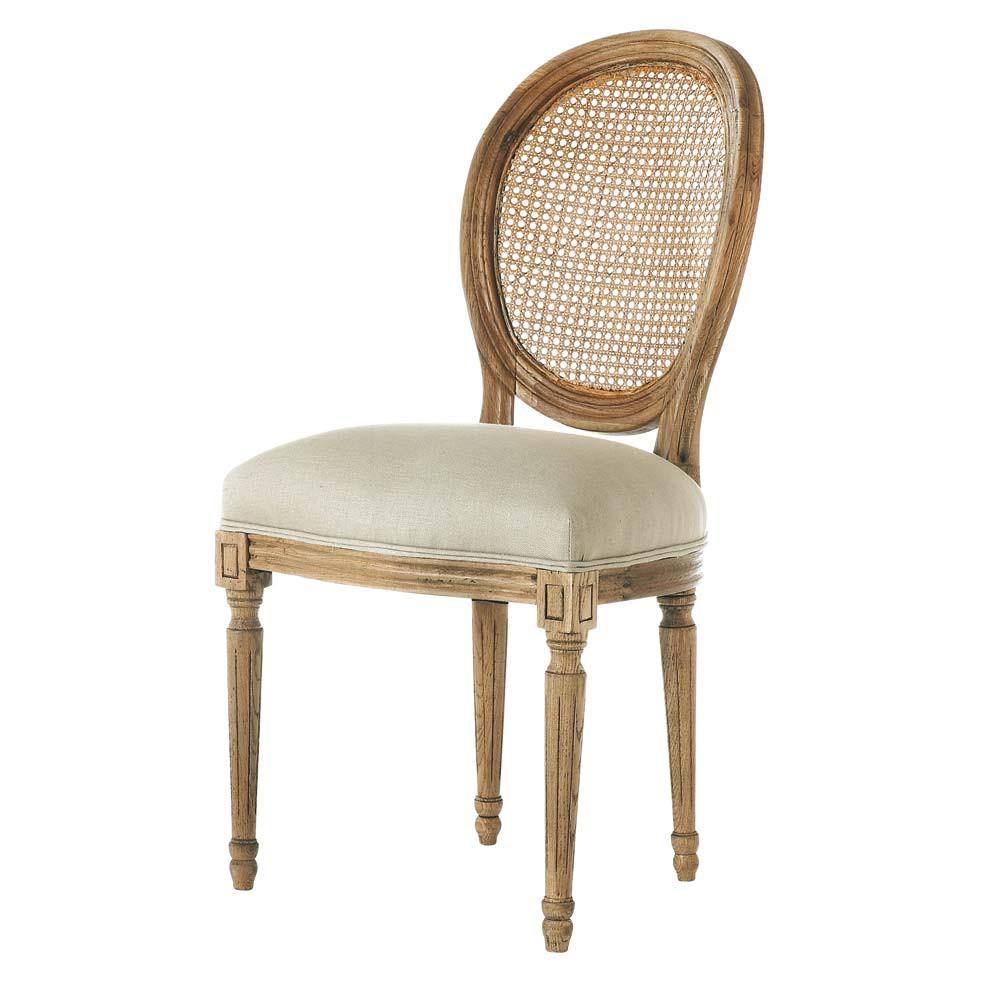 Silla con respaldo medall n de lino y roble macizo louis for Maison du monde sillas
