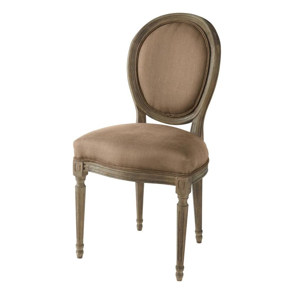 Silla con respaldo medall n de lino y roble macizo moca for Maison du monde chaise louis xvi
