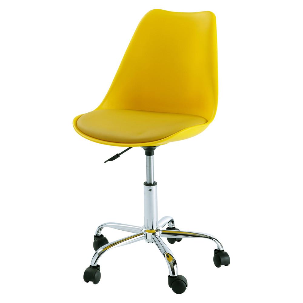 Silla de escritorio con ruedas amarilla bristol maisons for Ruedas para sillas de escritorio
