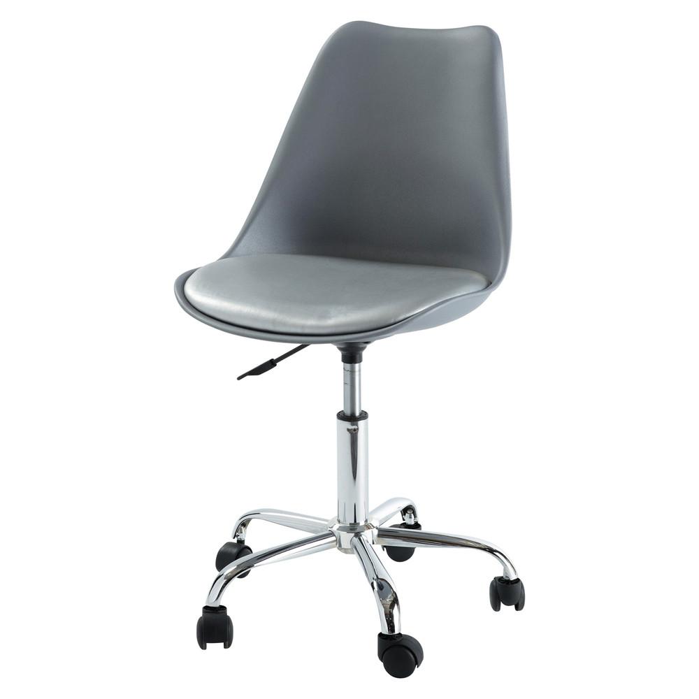 Silla de escritorio con ruedas gris bristol maisons du monde for Silla de escritorio