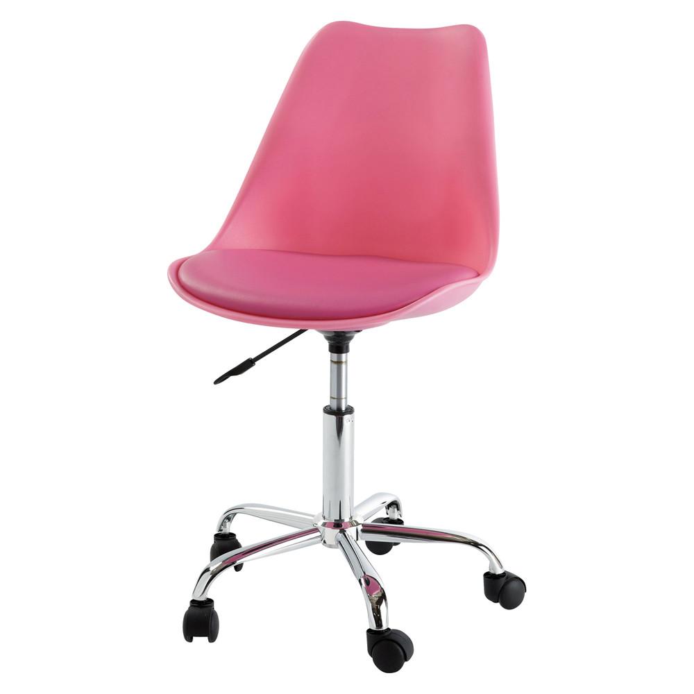silla de escritorio con ruedas rosa bristol maisons du monde