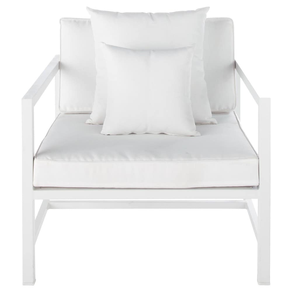 Silla de jard n de aluminio blanca ithaque maisons du monde for Sillas jardin blancas