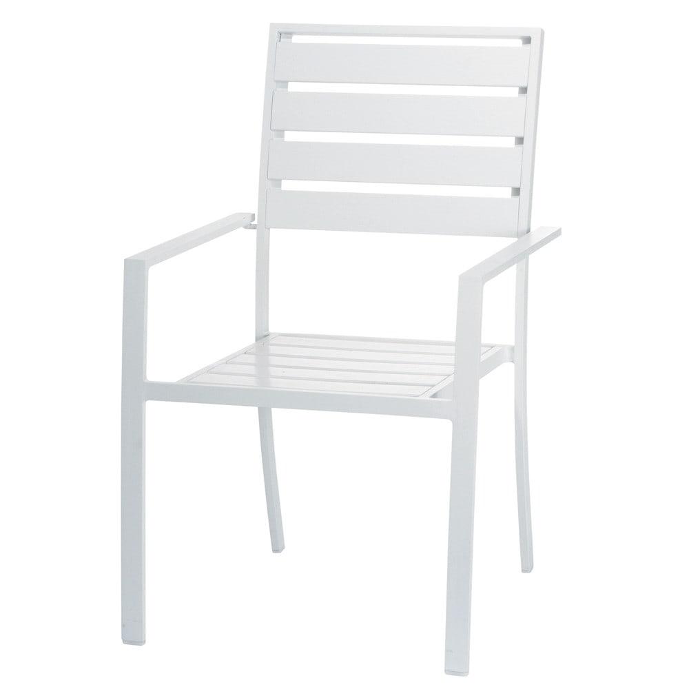 Silla de jard n de aluminio blanca portofino maisons du for Sillas jardin blancas
