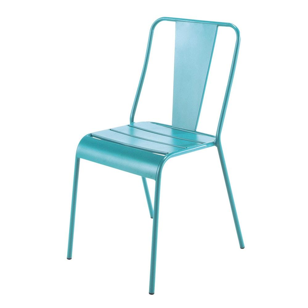 Silla de jard n de metal azul harry 39 s maisons du monde for Modelos de sillas de metal